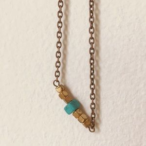Adjustable Beaded Bar Necklace in Turquoise